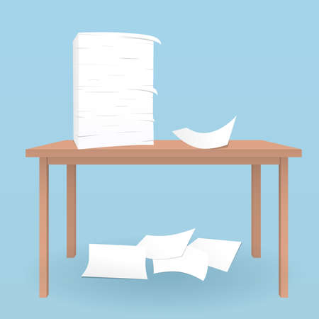 collect: Stack of white sheets on brown table and fallen paper on blue floor. Illustration