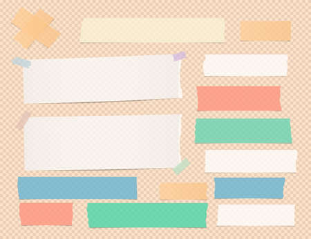 Ripped white and colorful note, notebook adhesive paper strips on orange squared background.
