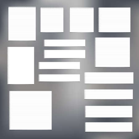 Pieces of torn white blank, note, copybook, notebook strips, sheets for message. Ilustrace