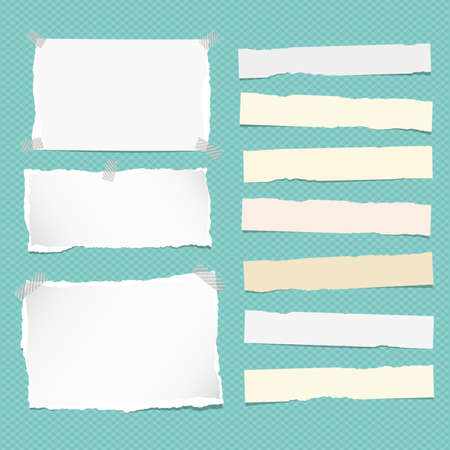 notebook: White and yellow ripped strips note, copybook, notebook paper stuck on turquoise background.