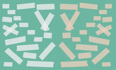 Brown and white different size adhesive, sticky, scotch tape, paper pieces on green squared background. Illustration