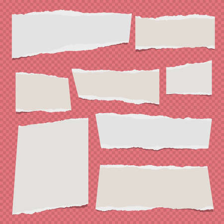 White ripped note, notebook paper for message or text stuck on red squared backdrop.