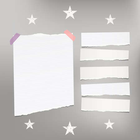 White ripped lined note, notebook paper for message or text stuck with sticky tape on gray background with stars. Banco de Imagens - 88027882