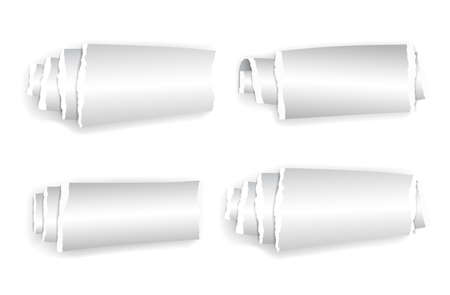 Set of rolled up paper isolated on white with shadow.. Illustration