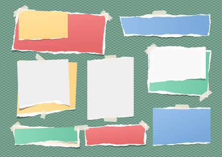 Colorful and white ripped strips, notebook, note paper for text or message stuck with sticky tape on green background. Ilustração
