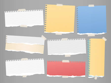 Colorful and white ripped strips, notebook, note paper for text or message stuck with sticky tape on gray background.