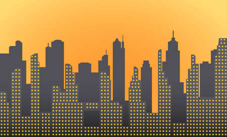 Dark morning, city landscape with skyscrapers and towers. Vector illustration Stock Photo