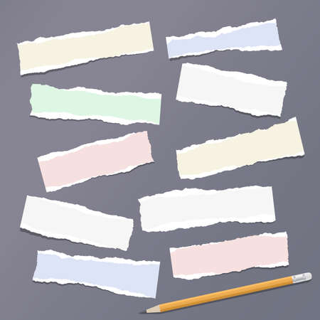 Colorful ripped strips, notebook, note paper with pencil for text or message stuck on dark gray background.