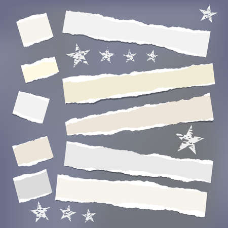 Light ripped strips, notebook, note paper with stars for text or message stuck on dark gray background. Ilustração