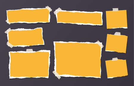 Yellow ripped strips, notebook, note paper for text or message stuck with sticky tape on black background.