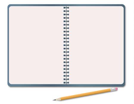 현실적인 노트북, 흰색 배경에 고립 된 연필로 빈 백서 시트. 벡터 일러스트 레이 션 일러스트