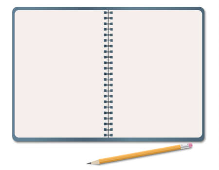 Realistic notebook, blank white paper sheet with pencil isolated on white background. Vector illustration Ilustração