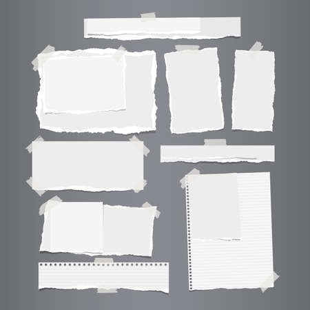 Set of white ripped horizontal and vertical paper strips for text or message stuck with sticky tape on gray background. Ilustração