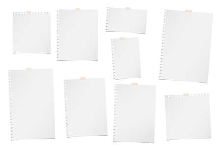 Blank, note, notebook, copybook paper sheets for text or message stuck with sticky tape on white background. Ilustração