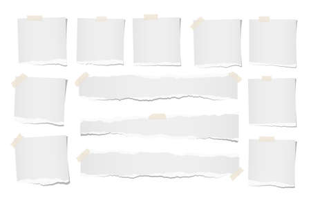 Ripped, note, notebook, copybook paper sheets for text or message stuck with sticky tape on white background.