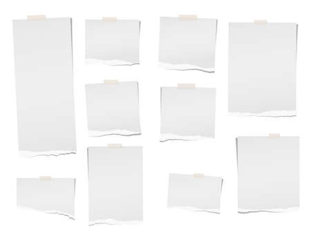 Torn, note, notebook, copybook paper sheets for text or message stuck with sticky tape on white background. Banco de Imagens - 90670880