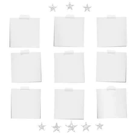 Blank note, notebook, paper sheets for text or message stuck with stars stuck on white background. Ilustração