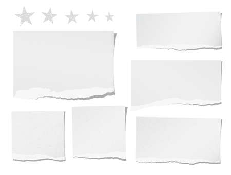 Ripped blank note, notebook, paper sheets for text or message stuck with stars stuck on white background.
