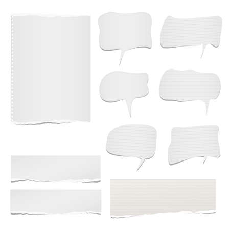 Ripped lined and blank note, notebook paper sheets with speech bubble for text or message stuck on white background Ilustração