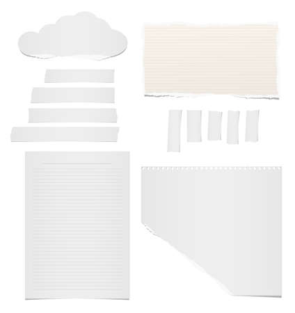 Ripped blank lined and blank note, notebook, adhesive, masking tape paper for text or message stuck on white background