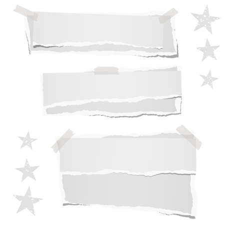 Ripped blank note, notebook stacked paper strips for text or message stuck with sticky tape on white background with star. Ilustração