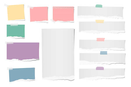 Colorful and white ripped blank note, notebook paper strips for text or message stuck with adhesive, sticky tape. Illustration