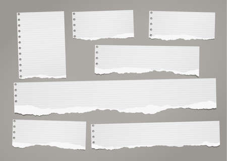 Ripped lined notebook paper strips for text or message stuck on dark gray illustration.