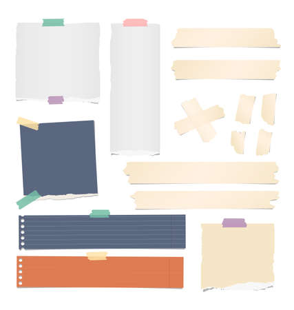 Colorful and white ripped lined, blank note, notebook paper strips, sheets, beige adhesive, sticky tape for text or message stuck on white background.