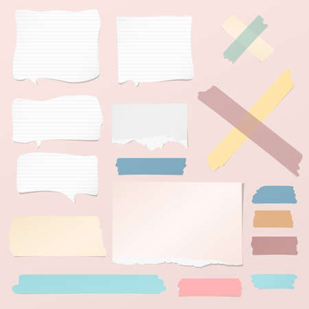 White ripped blank, colorful note, notebook paper strips, sheets, speech bubble, sticky tape for text or message stuck on pink background Ilustração