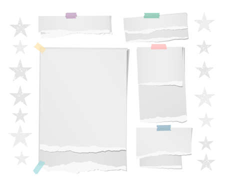 White ripped blank note, notebook paper strips, sheets for text or message stuck with colorful sticky tape on white background with stars.