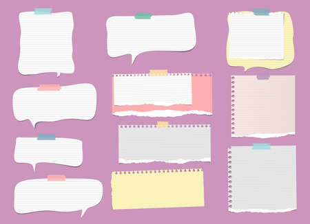 White, colorful ripped lined note, notebook paper strips, speech bubble for text or message stuck with sticky tape on violet background