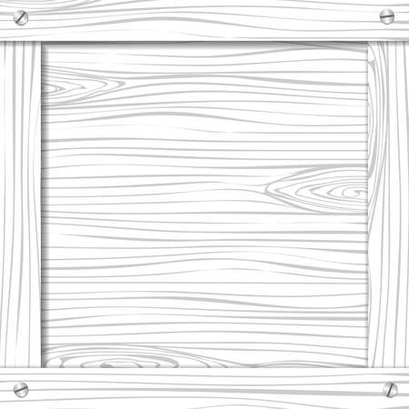 Side of white wooden crate, box or frame with screws. Illustration