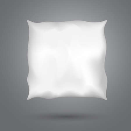 Square pillow with shadow on dark gray background for good, healthy sleep.