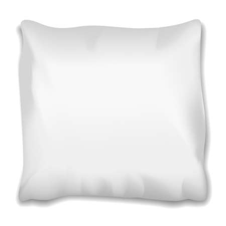 Square pillow with shadow on white background for good, healthy sleep.
