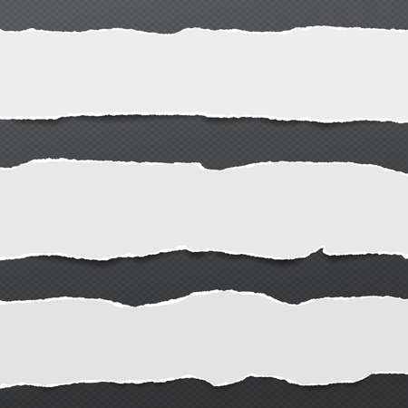 Pieces of torn white blank note, notebook paper strips stuck on black squared background. Illustration