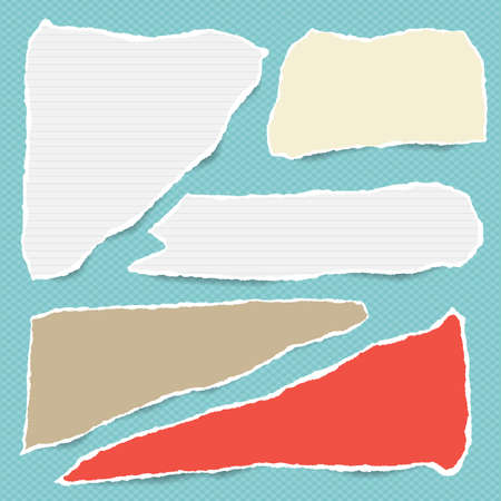 Pieces of torn white lined and colorfu note, notebook paper strips stuck on blue squared background. Illustration