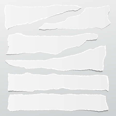 Pieces of torn white note, notebook paper strips stuck on gray background.