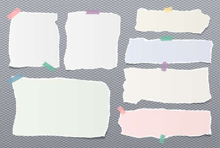 Torn colorful pastel note, notebook paper strips stuck with sticky tape on dark gray background.