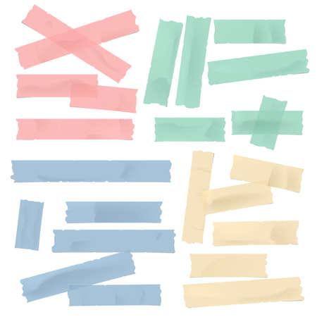 Kolorowy klej różnej wielkości, lepki, maskujący, taśma klejąca, kawałki papieru do tekstu na białym tle. Ilustracje wektorowe