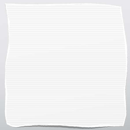 Torn white note, notebook paper sheets stuck on gray crumple background. Ilustração