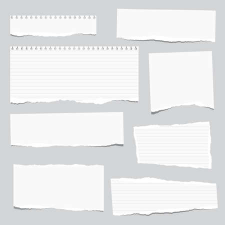 Torn white note, notebook paper strips stuck on gray background. Ilustração