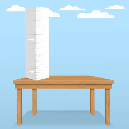 Stack of white sheets and paper in office on brown table top with clouds on blue sky.