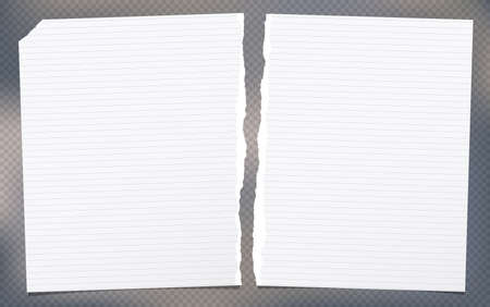 Torn white lined note, notebook paper sheets for text stuck on gray background