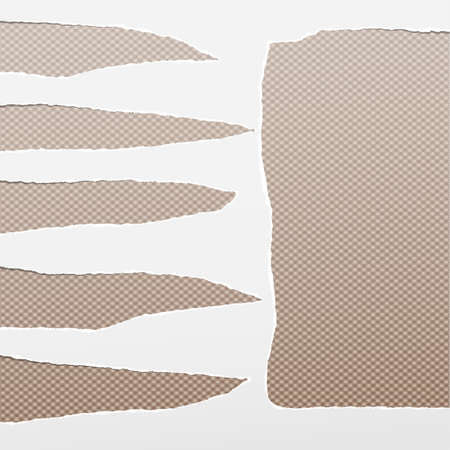 Torn white empty paper for text stuck on brown squared background. Vector illustration