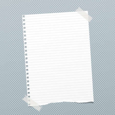 Torn white lined note, notebook paper sheet for text stuck with sticky tape on blue squared background.