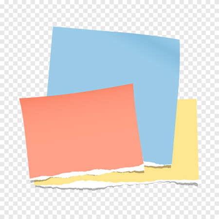 Colorful torn note, notebook paper pieces for text stuck on gray squared background.