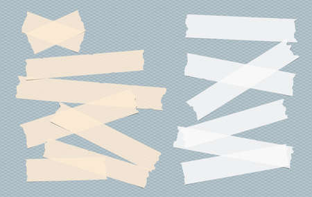 Brown and white adhesive, sticky, masking, duct tape, paper strips, pieces for text on blue squared background