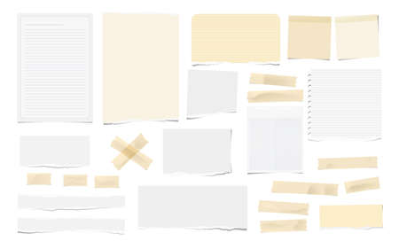 Brown adhesive, sticky, masking, duct tape pieces, white torn note, notebook paper for text are isolated on white background.