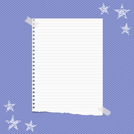 Torn white lined note, notebook paper sheet for text, stuck on squared blue background with stars on corners. Vector illustration