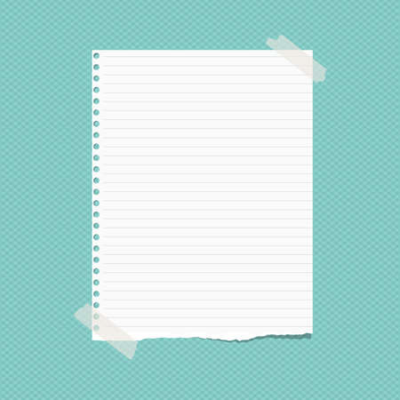 Torn white lined note, notebook paper sheet for text, stuck on squared turquoise background. Vector illustration Ilustração